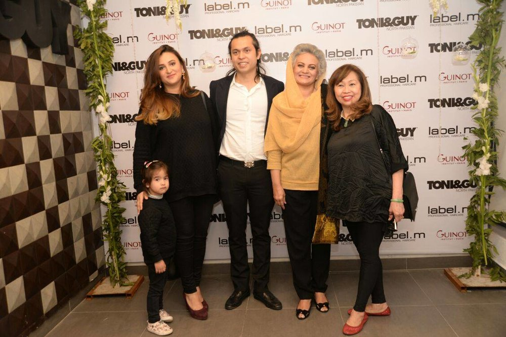 Shammal Qureshi of Toni& Guy North Pakistan with Family at the the Johar Town Branch Launch