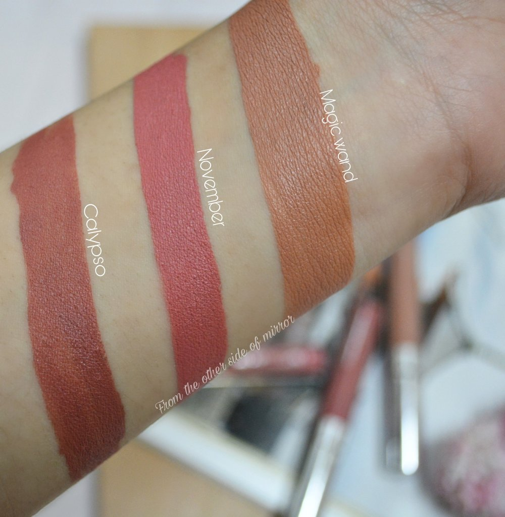 Colourpop Ultra Satin Lips - Swatches (Magic Wand, November, Calypso)
